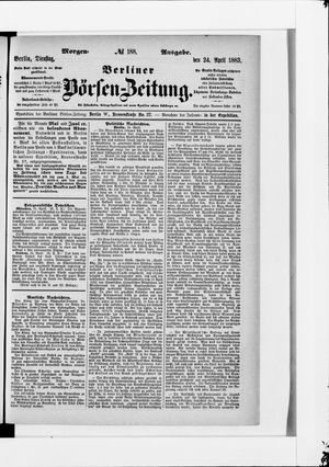 Berliner Börsen-Zeitung vom 24.04.1883