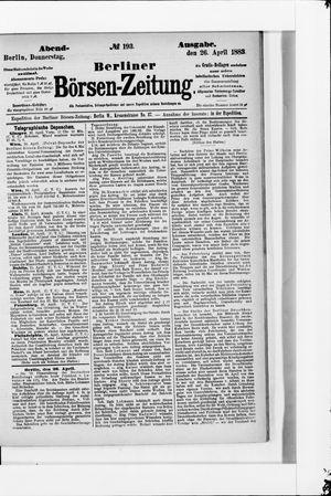 Berliner Börsen-Zeitung vom 26.04.1883
