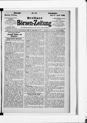Berliner Börsen-Zeitung vom 27.04.1883