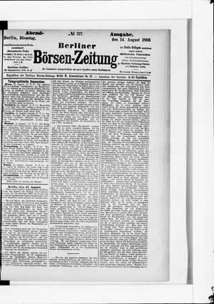 Berliner Börsen-Zeitung vom 14.08.1883