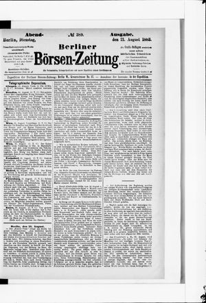 Berliner Börsen-Zeitung vom 21.08.1883