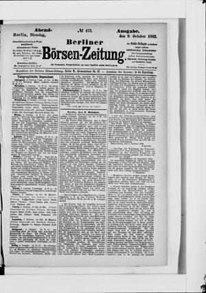 Berliner Börsen-Zeitung vom 09.10.1883