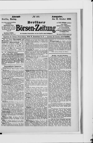 Berliner Börsen-Zeitung vom 22.10.1883