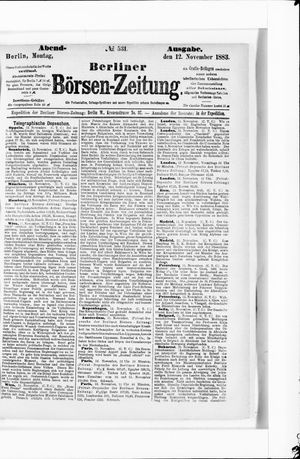 Berliner Börsen-Zeitung vom 12.11.1883