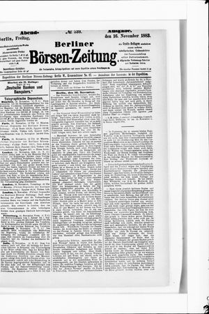 Berliner Börsen-Zeitung vom 16.11.1883