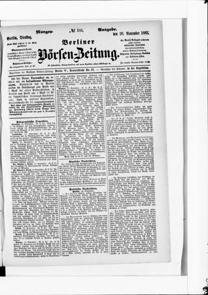 Berliner Börsen-Zeitung vom 20.11.1883