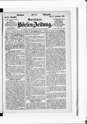 Berliner Börsen-Zeitung vom 22.11.1883