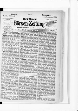Berliner Börsen-Zeitung vom 02.01.1884