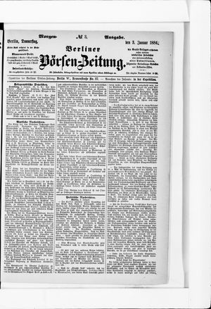 Berliner Börsen-Zeitung vom 03.01.1884