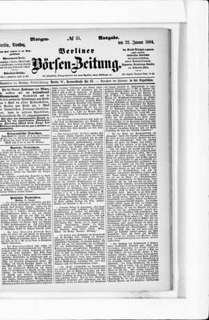 Berliner Börsen-Zeitung vom 22.01.1884