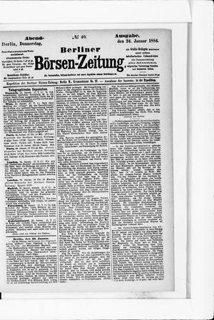 Berliner Börsen-Zeitung vom 24.01.1884