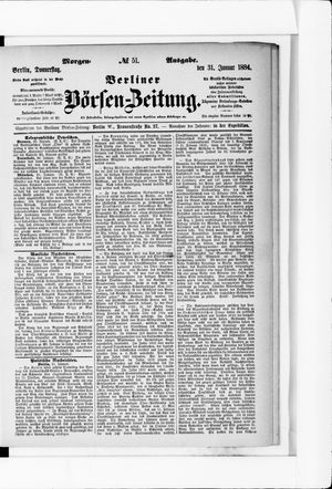 Berliner Börsen-Zeitung vom 31.01.1884