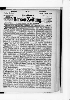 Berliner Börsen-Zeitung vom 01.02.1884