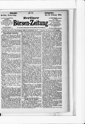 Berliner Börsen-Zeitung vom 14.02.1884