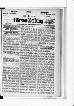 Berliner Börsen-Zeitung vom 23.02.1884