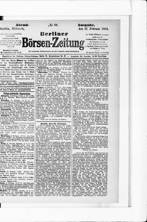 Berliner Börsen-Zeitung vom 27.02.1884