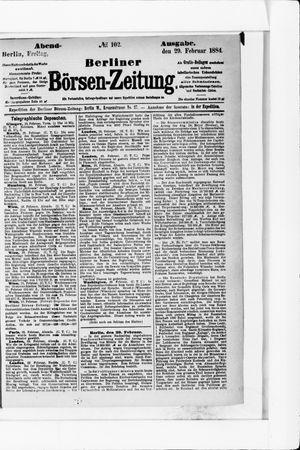 Berliner Börsen-Zeitung vom 29.02.1884