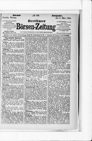 Berliner Börsen-Zeitung vom 03.03.1884