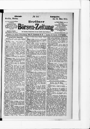 Berliner Börsen-Zeitung vom 31.03.1884
