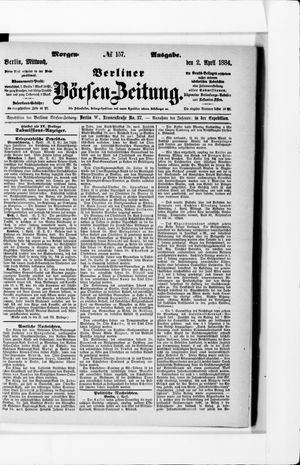 Berliner Börsen-Zeitung vom 02.04.1884