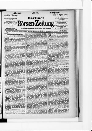 Berliner Börsen-Zeitung vom 07.04.1884