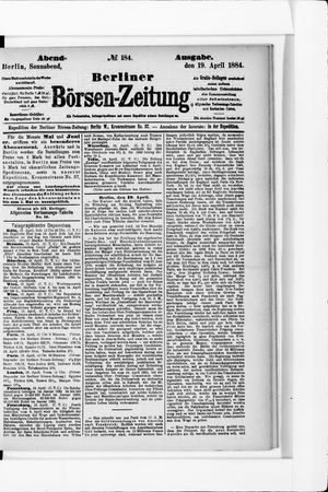 Berliner Börsen-Zeitung vom 19.04.1884
