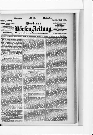 Berliner Börsen-Zeitung vom 22.04.1884