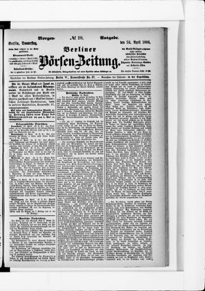 Berliner Börsen-Zeitung vom 24.04.1884