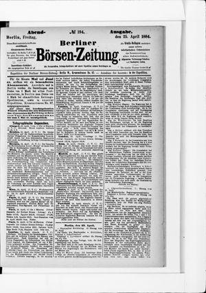 Berliner Börsen-Zeitung vom 25.04.1884