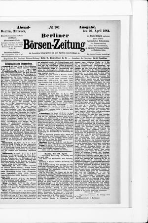 Berliner Börsen-Zeitung vom 30.04.1884