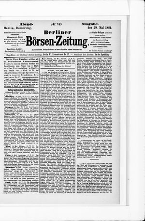 Berliner Börsen-Zeitung vom 29.05.1884