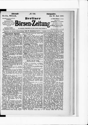 Berliner Börsen-Zeitung vom 18.06.1884
