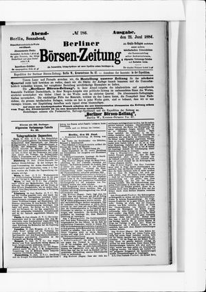 Berliner Börsen-Zeitung vom 21.06.1884