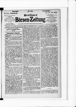 Berliner Börsen-Zeitung vom 19.07.1884