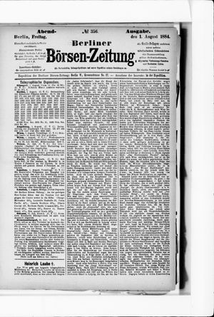 Berliner Börsen-Zeitung vom 01.08.1884