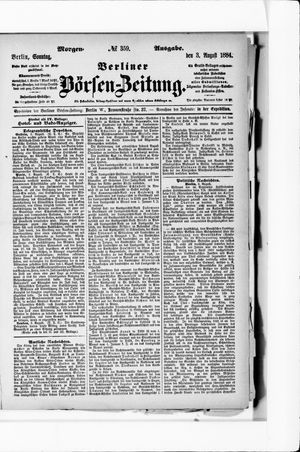 Berliner Börsen-Zeitung vom 03.08.1884
