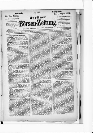 Berliner Börsen-Zeitung vom 04.08.1884