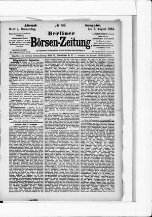 Berliner Börsen-Zeitung vom 07.08.1884
