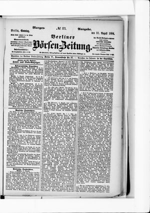Berliner Börsen-Zeitung vom 10.08.1884