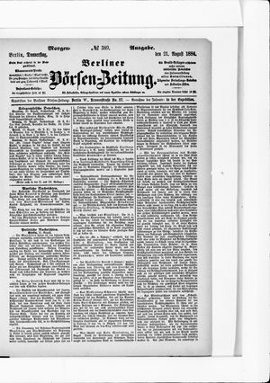 Berliner Börsen-Zeitung vom 21.08.1884