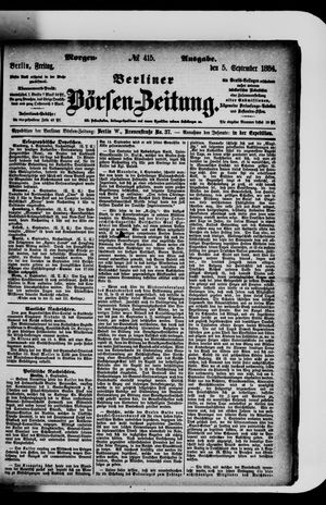 Berliner Börsen-Zeitung vom 05.09.1884