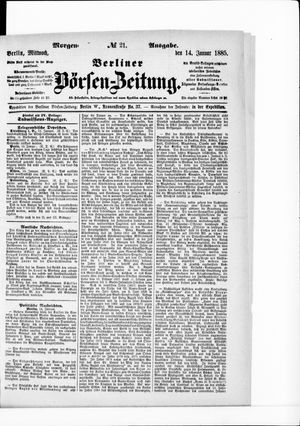 Berliner Börsen-Zeitung vom 14.01.1885