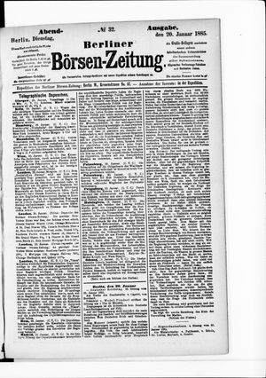 Berliner Börsen-Zeitung vom 20.01.1885