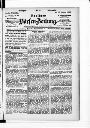 Berliner Börsen-Zeitung vom 19.02.1885