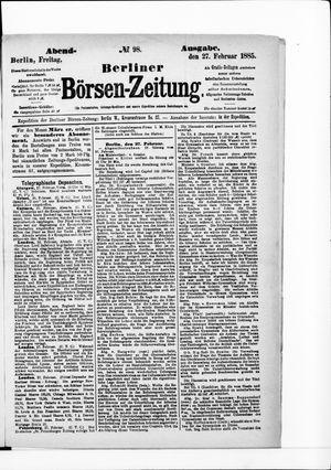 Berliner Börsen-Zeitung vom 27.02.1885