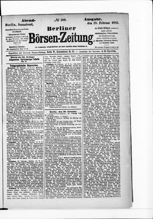 Berliner Börsen-Zeitung vom 28.02.1885