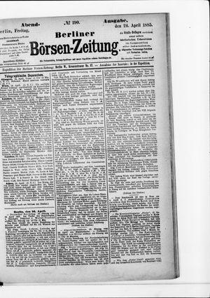 Berliner Börsen-Zeitung vom 24.04.1885