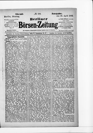 Berliner Börsen-Zeitung vom 28.04.1885
