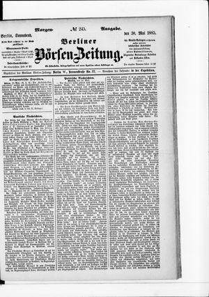 Berliner Börsen-Zeitung vom 30.05.1885