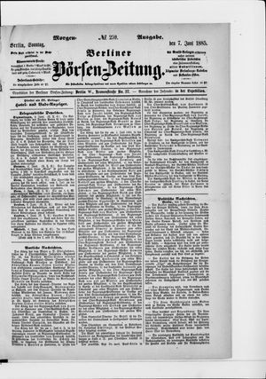 Berliner Börsen-Zeitung vom 07.06.1885